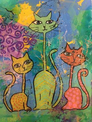 3x a Feline - Medium: Acrylic on Acrylic, Size: 9x12, Availability: Available