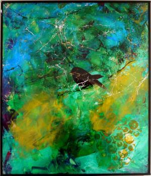 Biding Sparrow - Medium: Acrylic on Acrylic, Size: 16x20, Availability: Available