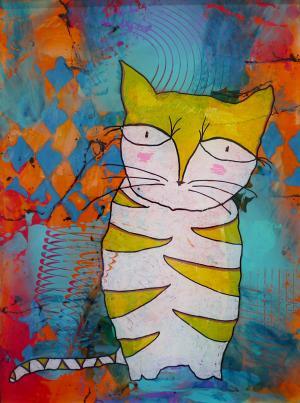 Cat Nip - Medium: Acrylic on Acrylic, Size: 10x13x1.5, Availability: Sold
