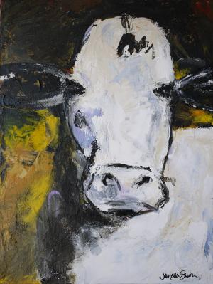 Cow Daddy at Midnight - Medium: Acrylic, Size: 12x16x1.5, Availability: Sold
