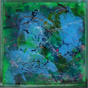 Green Eyed Envy - Medium: Acrylic on Acrylic, Size: 9x9x1, Availability: Available