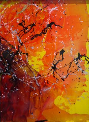 Mellow Yellow 1 - Medium: Acrylic on Acrylic, Size: 5x6.5x1, Availability: Available