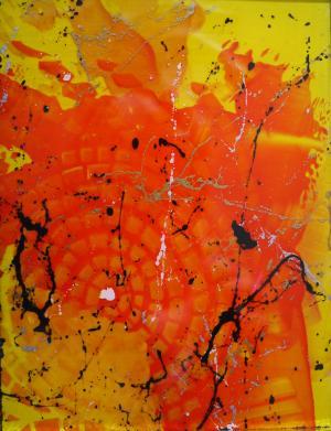 Mellow Yellow 4 - Medium: Acrylic on Acrylic, Size: 5x6.5x1, Availability: Available