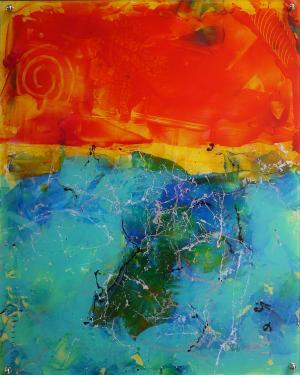 Ocean Sunset - Medium: Acrylic on Acrylic, Size: 16x20 (17.5x21.5 with metal back), Availability: Available