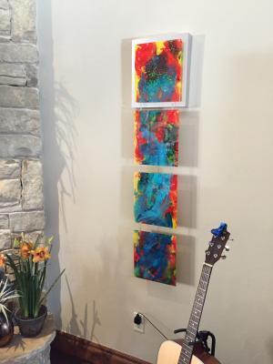 Peacock Sunset - Medium: Acrylic on Acrylic, Size: 51x12x2, Availability: Available