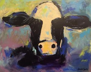 Pivotal Cow - Medium: Acrylic, Size: 16x20, Availability: Available