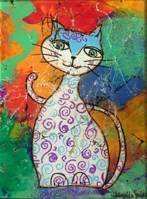 Psycho Kitty - Medium: Acrylic on Acrylic, Size: 9x12x1, Availability: Available