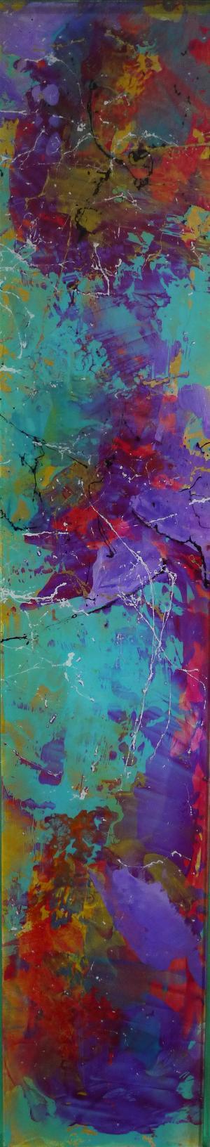 Purple Falls - Medium: Acrylic on Acrylic, Size: 32.5x6.5, Availability: Sold