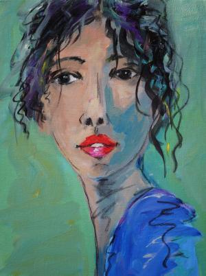 Lulu Loves Her Lipstick - Medium: Mixed Media, Size: 12 x 16 x 1.5, Availability: Available