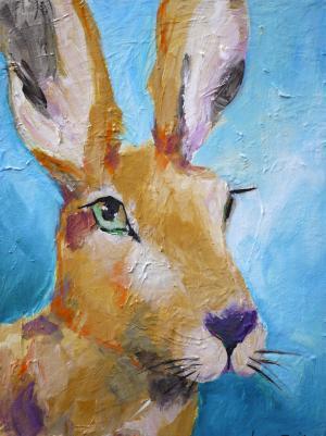 Portrait of a Jackrabbit - Medium: Acrylic, Size: 12 x 16 x 1.5, Availability: Sold